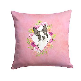 Boston Terrier Pink Flowers Fabric Decorative Pillow
