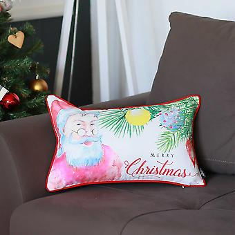 "20""x12"" Christmas Santa Printed Decorative Throw Pillow Cover"