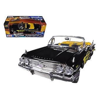 1960 Chevrolet Impala Black With Flames Custom 1/18 Diecast Model Car by Motormax