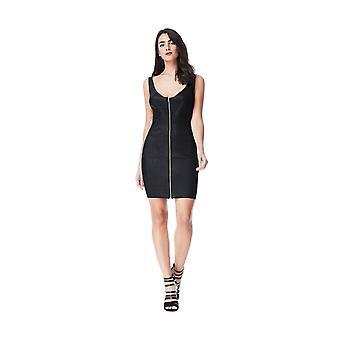 ゴディバ ブラック メタリック ジップ ディテール ボディコン パーティー ミニ ドレス