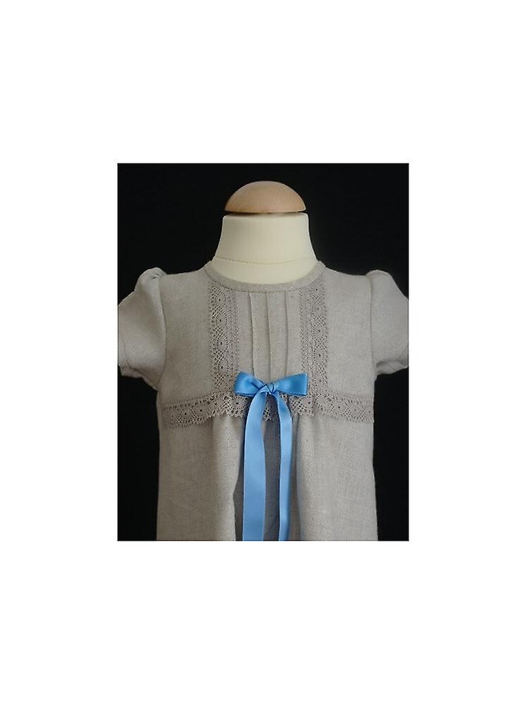 Christening dress Grace Of Sweden - Linen Baptism Dress With Fine Details