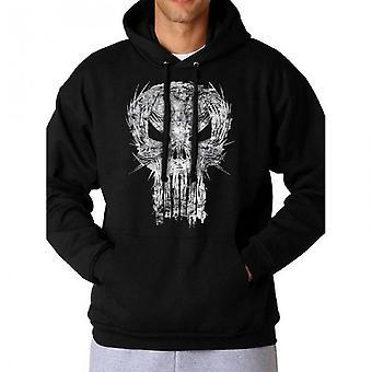 Marvel Comics Punisher Unisex Adults Hooded Sweatshirt With Shatter Skull Design