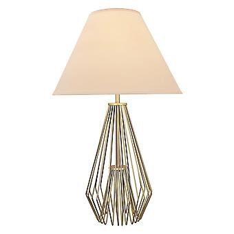 Caged Pattern Metal Table Lamp with Flared Empire Shade, Beige and Golden