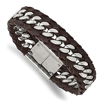 16.69mm Stainless Steel Polished Brown Leather Bracelet 8.5 Inch Jewelry Gifts for Women