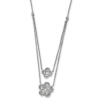 925 Sterling Silver Rhodium Multi strand CZ Cubic Zirconia Simulated Diamond With 2inch Ext Floral Necklace 15 Inch