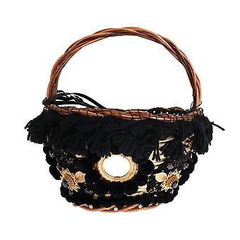 Dolce & καμπάνα μπεζ άχυρο δέρμα φιδιού Pom Pom Crystal αγνή τσάντα