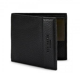 Ted Baker Carabas Black Leather Bi-fold Wallet With Coin Pkt