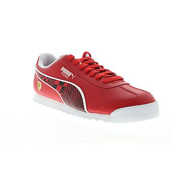 Puma Scuderia Ferrari Roma  Mens Red Leather Low Top Sneakers Shoes