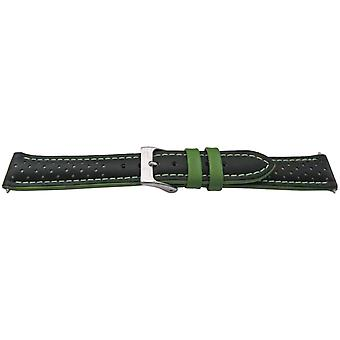 Calf leather watch strap glove grain smooth leather black with green size 18mm, 20mm and 22mm