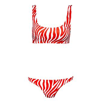 Paramidonna Ztp0205 Women's White/red Nylon Bikini