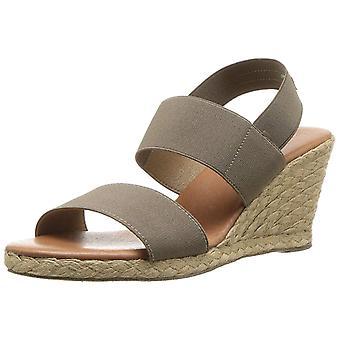 André Assous Womens Allison Leather Open Toe Casual Espadrille Sandals