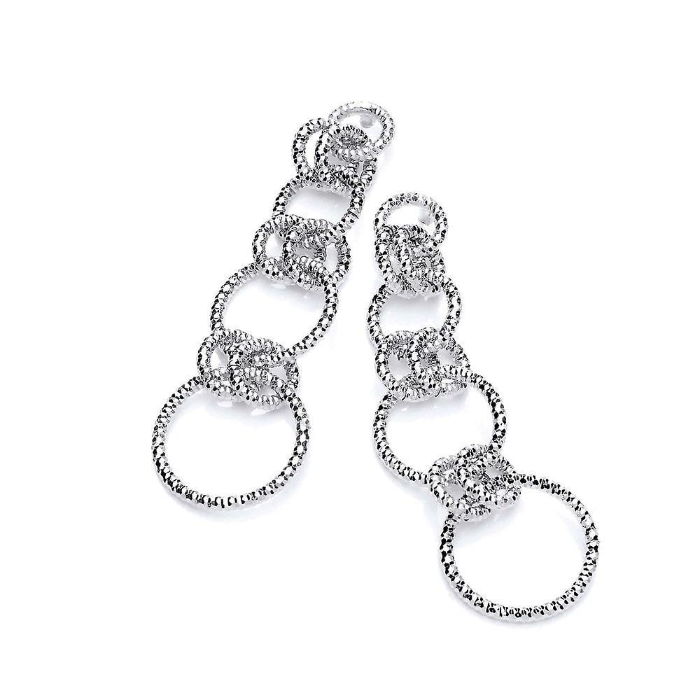 David Deyong Sterling Silver Diamond Cut Long Linked Drop Earrings