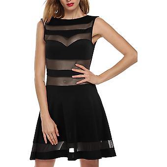 Zeagoo Women's Mesh See Through Sheer Block Skater Sleeveless Mini Dress,Small,Black