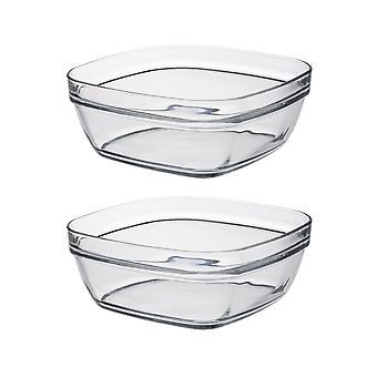 Duralex Set of 2 Lys Square Stacking Bowl, 20cm
