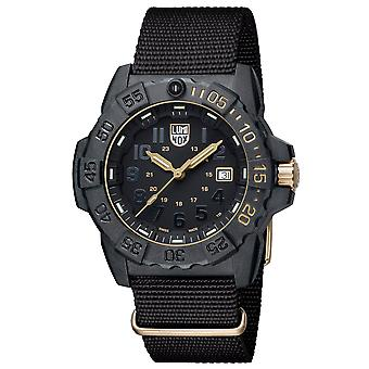 Luminox Limited Edition 3500 Série Gold Black Dial Canvas Strap Avec Extra Strap Men's Watch XS.3501.GOLD.SET RRP