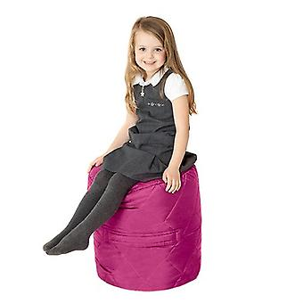 Fun!ture Quilted Round Kids Bean Bag | Outdoor Indoor Living Room Childrens Cylinder Beanbag Seating | Water Resistant | Vibrant Play Kids Colour Seat | High Quality & Comfy (Cerise)