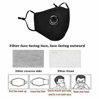 Washable Reusable N95 Anti Air Pollution Face Mask With Respirator 10 Filters UK Black