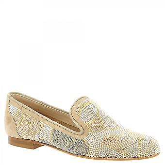 Leonardo Scarpe Donne&s ballerine fatte a mano scarpe beige scamosciata con strass