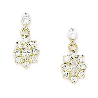 14k Yellow Gold April Clear 3x5mm CZ Flower Screw back Earrings Measures 16x8mm Jewelry Gifts for Women