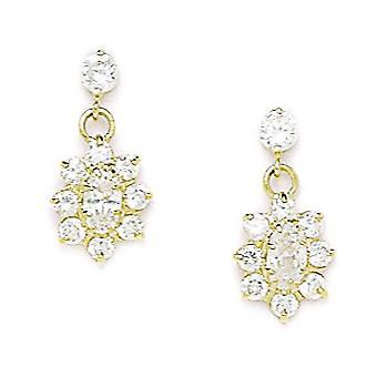 14k Yellow Gold april Clear 3x5mm CZ Flower Screw back Oorbellen maatregelen 16x8mm sieraden geschenken voor vrouwen