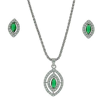 TOC Sterling Silber CZ Set Tear Drop Ohrringe & Anhänger Halskette 18