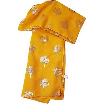 Mustard Silver Metalic Trees Scarf by Butterfly