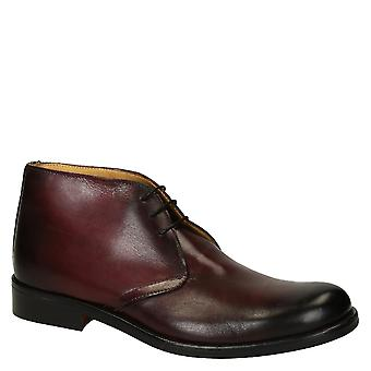 Leonardo Shoes Men's handmade chukka lace-ups boots in burgundy calf leather
