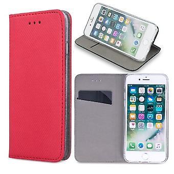 Huawei P30 Lite-älykäs magneetti kotelo mobiili lompakko-punainen