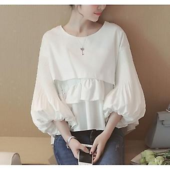 O Neck Crop Tops Casual Cute Folds Blouse