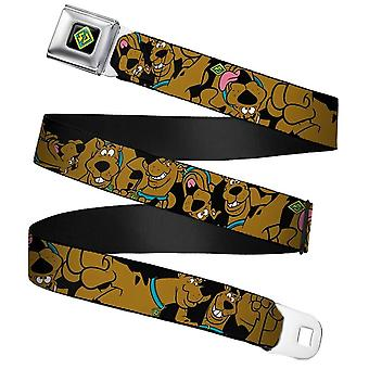 Scooby Doo Stacked Close-Up Black Webbing Seatbelt Buckle Belt