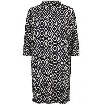 Masai Clothing Glussi Navy & Cream Patterned Tunic