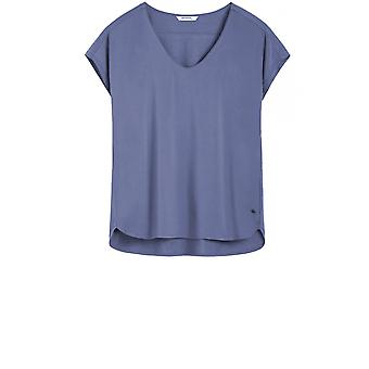Sandwich Clothing Blue/Grey Silky Front Top