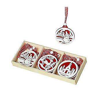 Wooden Set of Christmas Tree Hanging Decorations Red and White x 9