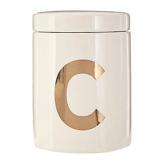 Premier Housewares Mono Coffee Canister, White Gold