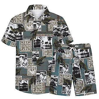 Allthemen Menăs 3D Sea Turtle 2-Pcs Casual Shirt&Shorts