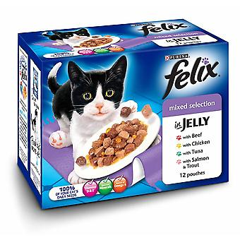 Felix Mixed Selection Complete Wet Cat Food In Jelly (4 x 12 Pouches)