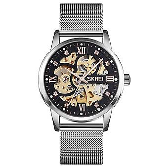 Skmei Mens Silver Automatic Movement Skeleton Steampunk Watch Metal Mesh Strap With Crystal Stone Encrusted Hour Markers Collector SK9199