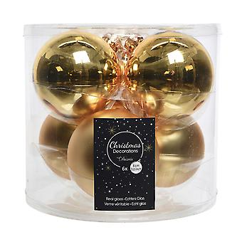 6 8cm Light Gold Glass Christmas Tree Bauble Decorations