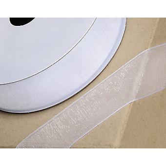 25m White 6mm Wide Woven Edge Organza Ribbon for Crafts