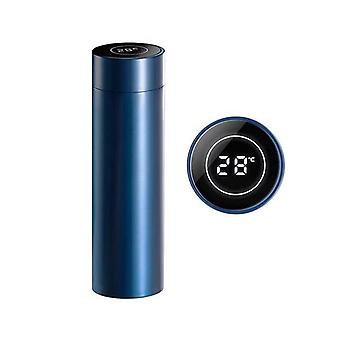 Soga 500Ml roestvrij stalen lcd-thermometer display kolf Thermos Blauw