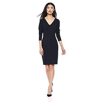 Brand - Lark & Ro Women's Long Sleeve V-Neck Paneled Waist Sheath Dress, Navy, 4