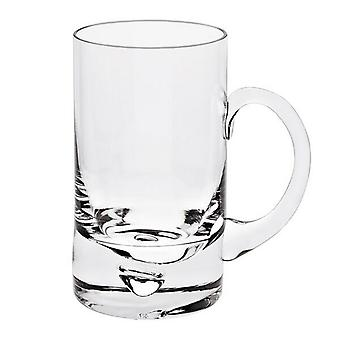 Mouth Blown Glass Pair of Glass Beer Mugs 14 oz.