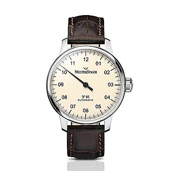 MeisterSinger No. 03 Ivory AM903 Brown Leather Strap Men's Watch