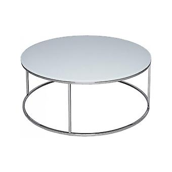 Gillmore White Glass And Silver Metal Contemporary Circular Coffee Table