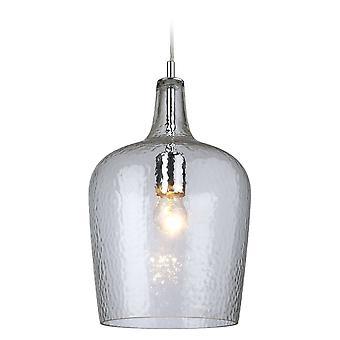 1 Light Glass Dome Ceiling Pendant Chrome, Verre clair, E27