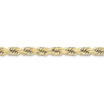 10k giallo oro solido 8 mm a mano Sparkle-Cut Rope catena cavigliera - 9 pollici - canna chiusura