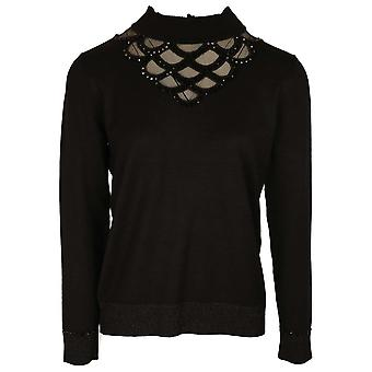 Leo & Ugo Black Fine Knit Polo Neck Jumper With Lace Detail