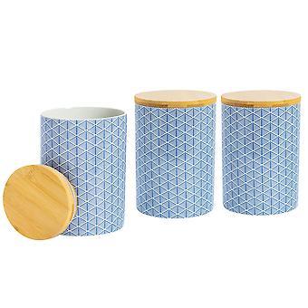 Nicola Spring 3 Piece Geometric Patterned Biscuit Barrel Set - Large Porcelain Kitchen Storage - Navy Blue - 14.5cm