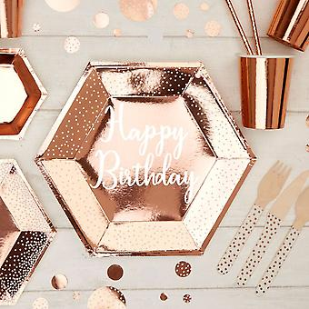 Rose Gold Happy Birthday Placa de hârtie mare x 8