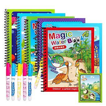 Magical Book Water Drawing Montessori Coloring Cartoons Books, Doodle Pen